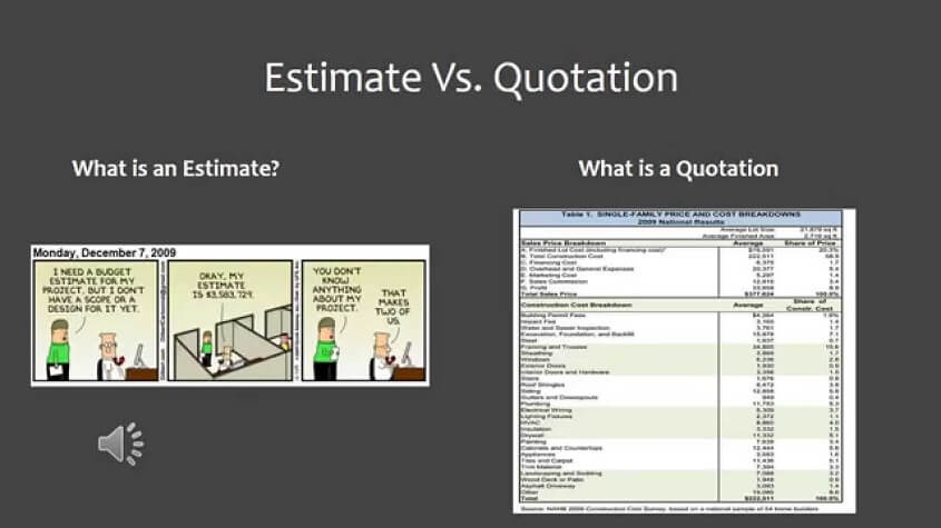 Difference between an estimate and a quote